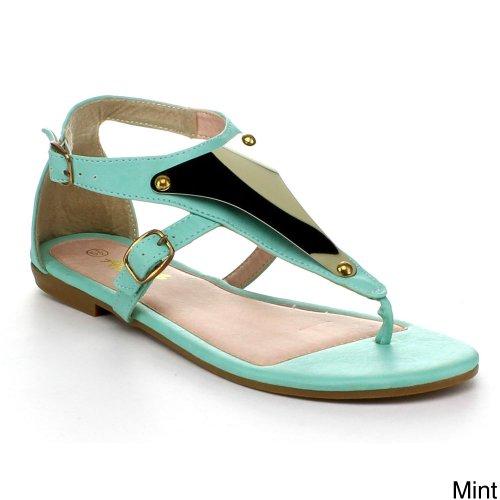 Anna Vita-11 Kvinner T-stropp Ankel Strappy Metall Acent Flat Gladiator Tanga Sandal, Farge: Mynte, Størrelse: 6