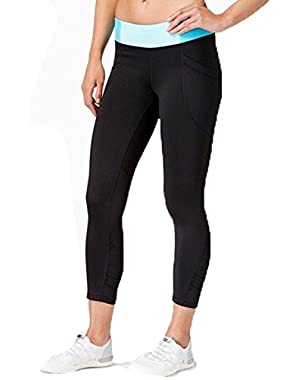 Calvin Klein Performance Colorblocked Cropped Leggings Black/Aqua