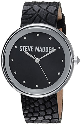 Steve Madden Women's Quartz Silver-Tone Casual Watch, Color:Black (Model: - Watch Silver Black Animal Leather
