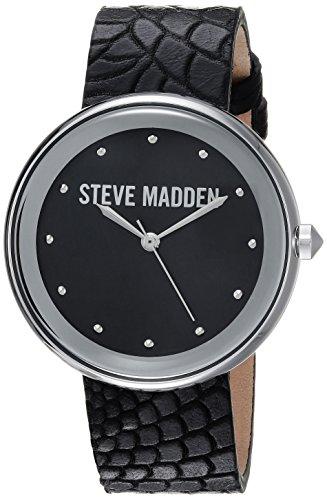 Steve Madden Women's Quartz Silver-Tone Casual Watch, Color:Black (Model: - Silver Animal Watch Black Leather