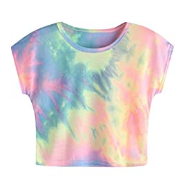 SMILEQ Top Casual Short Sleeve Tops Womens Tie Dye Loose T-Shirt Cozy Summer Blouse