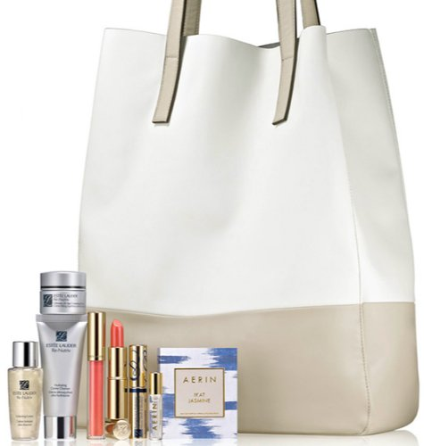 Estee Lauder 2014 Skincare Gift Set with a Tote Including Re Nutriv Ultimate Lift Age-correcting Crème, Re Nutriv Hydrating Cream Cleanser, Re Nutriv Softening Lotion, Aerin Ikat Jasmine Eau De Parfum, Pure Color Long Lasting Lipstick & Gloss ()