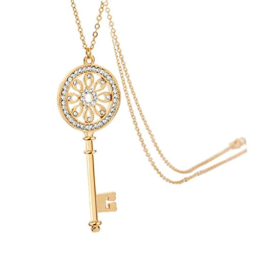 - Chaomingzhen Austrian Crystal Gold Plated Flower Key Pendant Long Necklace for Women Fashion Jewelry