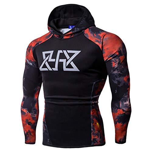 WUAI Clearance, Mens Hoodie Sweatshirts Camo Print Slim Fit Muscle Bodybuilding Sportswear Shirts Tops(Red,US Size XL = Tag 2XL)