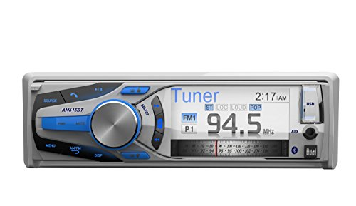 Dual Electronics AM615BT 3 inch Full Color Multi-Line Detachable Single DIN Marine Stereo with Built-In Bluetooth & MP3/WMA Player by Dual Electronics