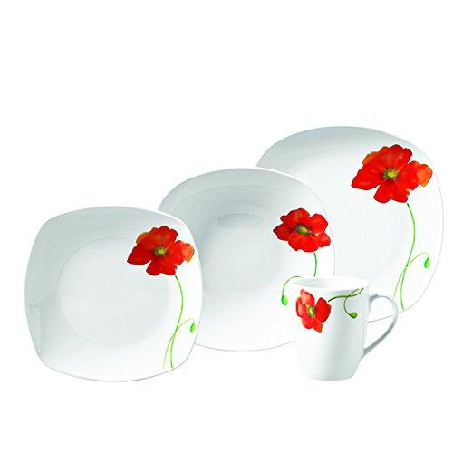 Poppy 16pc Soft Square Porcelain Dinnerware Set (Dinnerware Sets Poppy)