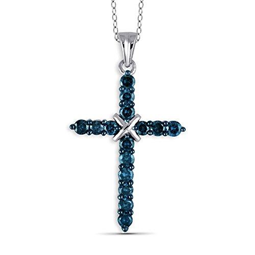 Jewelexcess 1/2 Carat T.W. Blue Diamond Sterling Silver Cross Pendant ()