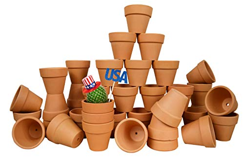 My Urban Crafts 40 Pcs - 2.1 Inch Mini Clay Pots Small Terracotta Pots Ceramic Pottery Planter Terra Cotta Flower Pot Succulent Nursery Pots Great for Windowsill, Cactus Plant, Crafts, Wedding Favors]()