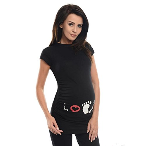 - Maternity T Shirt, Womens Mother I Love My Baby Printed Funny Graphic Pregnant Tops Blouse (XL, Black - ❤️ Footprint)