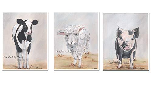 "Modern Farmhouse Decor, Set Of 3 Unframed Fine Art Prints, Farm Animal Art, French Country Kitchen Decor Black And White Rustic Decor - 6 Sizes 5x7"" to 24x36"""