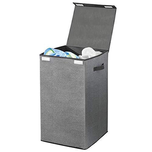 (mDesign Large Laundry Hamper Basket with Hinged Lid and Attached Handles - Portable and Foldable for Compact Storage - Single Hamper Design, Textured Print with Solid Trim - Charcoal/Black)