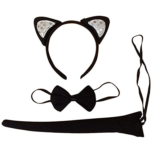 Christmas Women's Cat Ears Headbands Hair Band for Party, Cat Cosplay Set Ears Tail Bowtie Tie (Child Cat Costume Kit)
