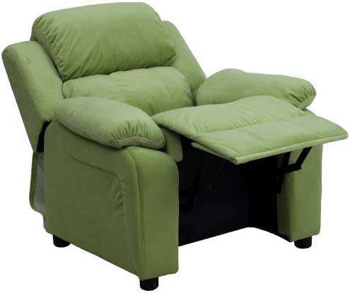 Oliver Deluxe Padded Avocado Microfiber Kids Recliner with Storage Arms Emma
