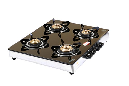 brightflame 4 Burner Black Glass Top Gas Stove - Manual Igni