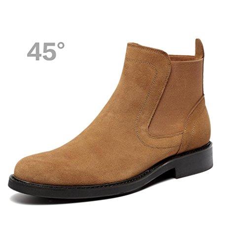 Heart&M cuero de gamuza casual cuero genuino helado de los hombres zapatos de trabajo que botas de Martin yellow brown