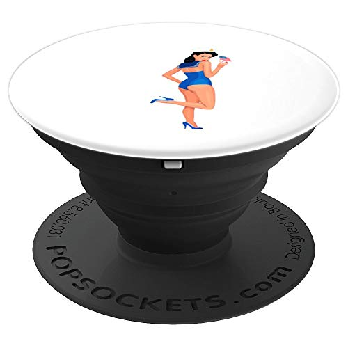 Sailor Girl Pin Up Costume (Pin Up Girl Sailor With American Flag PopSockets Grip and Stand for Phones and)