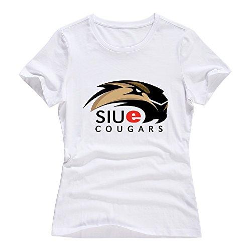 White 100% Cotton SIU Edwardsville Cougars T Shirts For Female Size -