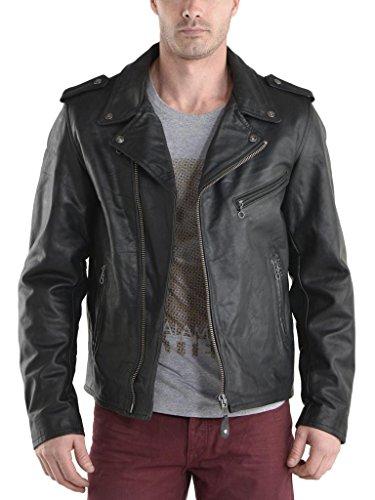 Fit Pelle Cappotto Giacche Black Biker In Outwear Moto Da Uomo Auk054 Giacca Slim qYOa8wx