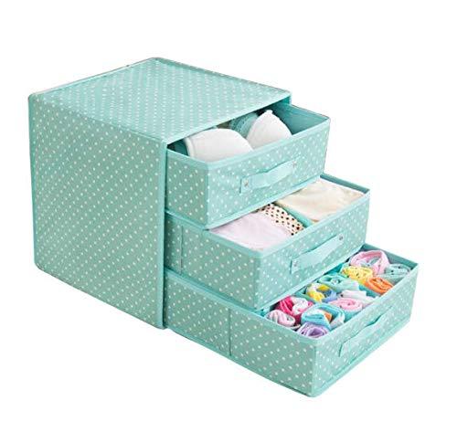 Wuyue Hua - Caja de almacenamiento para ropa interior, de tela Oxford, caja de almacenamiento de escritorio para sujetador, ropa interior, calcetines, como un cajon, con tres capas