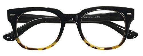 Nerd Geek Oversized Eye Glasses Horn Rim Retro Framed Clear Lens Spectacles (BLACK LEOPARD 41687) ()