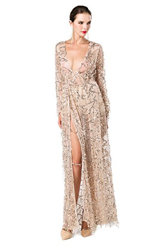 missord Gold Damen Split Kleid Maxi Pailletten Langärmelige Ausschnitt Polyester V Zwei ggnTxvwq7r