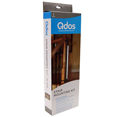 QDOS Universal Stair Mounting Kit for All Baby Gates | Slate - Professional Grade Safety - Universal Solution for Banister & Spindle Installation - Works with Hardware or Pressure Mount - Pet Slate