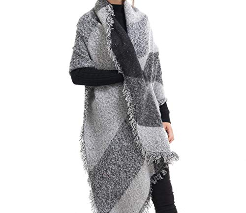 Ladies Cashmere Scarf Cashmere Warm Thickening Shawl (Color : Black Grey, Size : 20070cm)