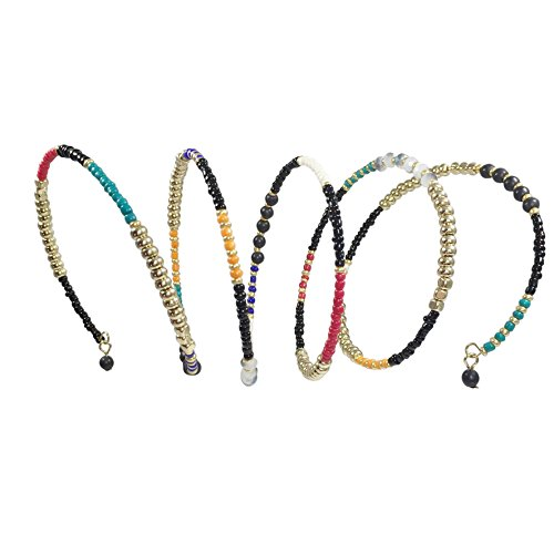 Gypsy Jewels Multi Color Seed Bead Boho Bohemian Style Wrap Around Bracelet (Black)