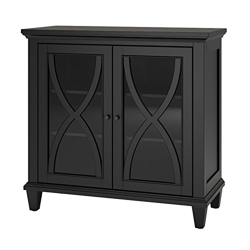 Accent Storage Cabinet with 2 Glass Doors - Contemporary Storage Organizer - Use as Buffet, Sideboard, Server or Living Room Cabinet - Can be TV Stand Media Entertainment Center, Console Table (Black)