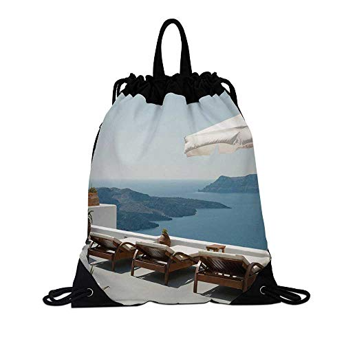Travel Decor Canvas Drawstring Bag,Sunbathing with Caldera View Terrace Santorini Aegean Greece Print for Travel School,7.4