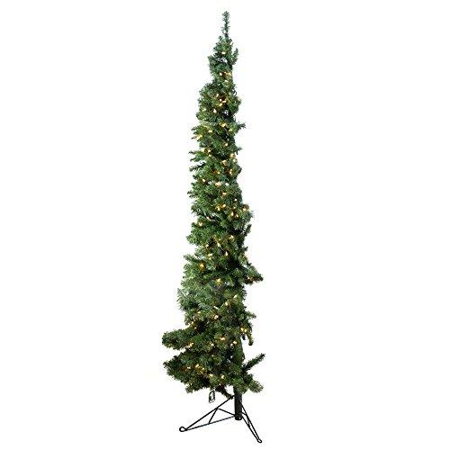 Slim Christmas Trees - Home Heritage 7' Artificial PVC Corner Christmas Tree LED White Lights w/ Stand