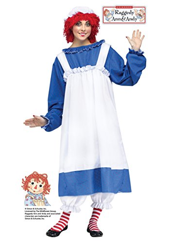 Fun World Costumes Women's Raggedy Ann Adult Costume, Blue/White, One Size (Raggady Ann Costume)