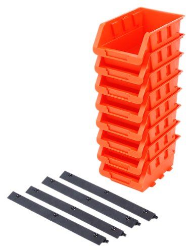 Tactix 320604 Plastic Tray Bin Set, Black/Orange, 8-Piece by Tactix