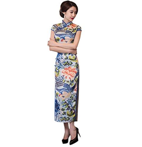 Pour Polyester Soirée Mariage Femme Rétro Elégant Chinoise Qipao Party Cheongsam Acvip Long En Robe f4UYXq0