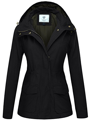 WenVen Women's Cotton Anorak Lightweight Parka Jackets with Drawstring(Black,M)