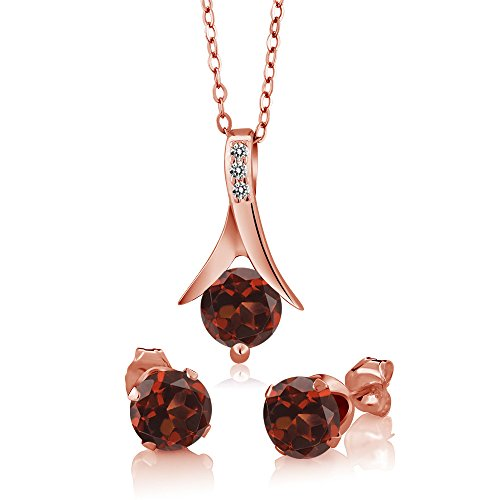 (3.05 Ct Red Garnet White Diamond 18K Rose Gold Plated Silver Pendant Earring Set)