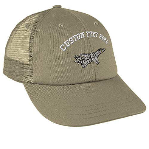 Custom Text Embroidered F-14 Tomcat Unisex Adult Snaps Cotton Low Crown Mesh Golf Snapback Hat Cap - Khaki, One ()