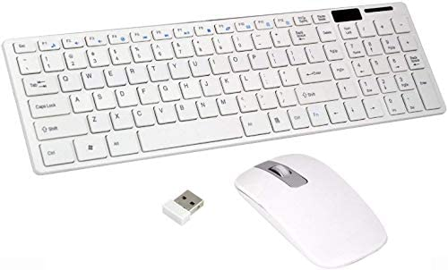 Wireless 2.4GHz Keyboard & Mouse Combo Kit | Ultra Thin Fashion Slim USB Bluetooth Receiver for PC Tablet Android TV Laptop Smart TV Compatible with All Windows (White)