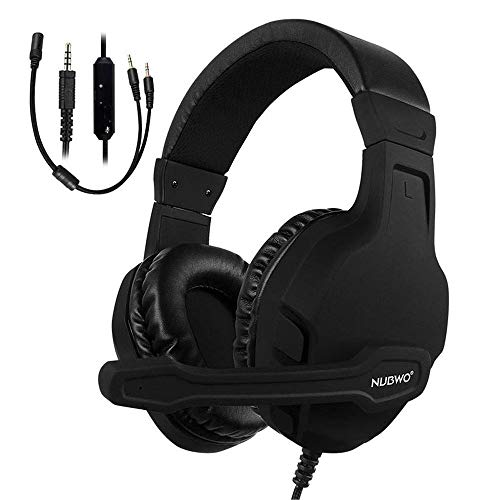 NUBWO Gaming Headset Xbox One PS4 Headset PC Mic, Comfort Earmuff, Lightweight, Easy Volume Control for Xbox 1 S/X Playstation 4 Computer Laptop(Black) (Black) by NUBWO