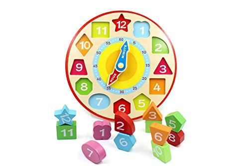 YouΞ Wooden Shape Sorting Teaching (Wooden Teaching Clock)