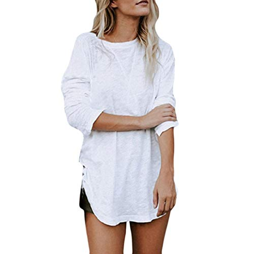 Sunhusing Ladies Solid Color Large Size Undecorated T-Shirt Loose Casual Long Sleeve Chic Top ()