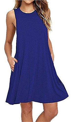 Vestidos Mujer YOGLY Vestidos de Mujer, Vestido de camiseta, sin Manga Traje de Baño Para Mujer Verano Moda Vestido de Playa, Colores Lisos, Talla Grande Azul 2