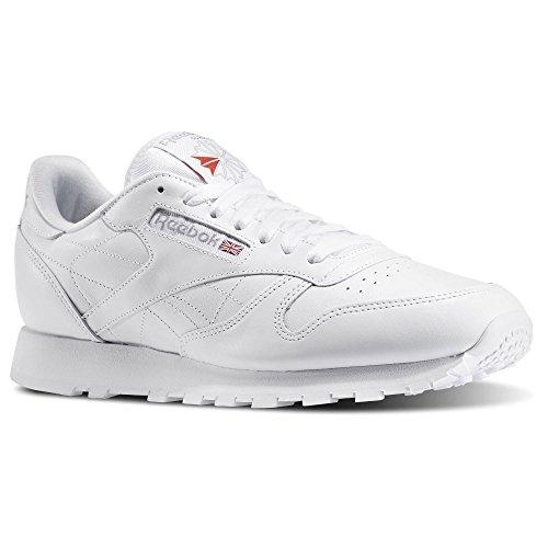 Reebok Men's Classic Leather Sneaker, White/White/Light Grey, 8 M US