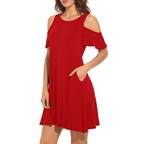 Red Women's Shoulder Tunic Swimming shirt Icoci Summer T Cold 2WDHe9YEI