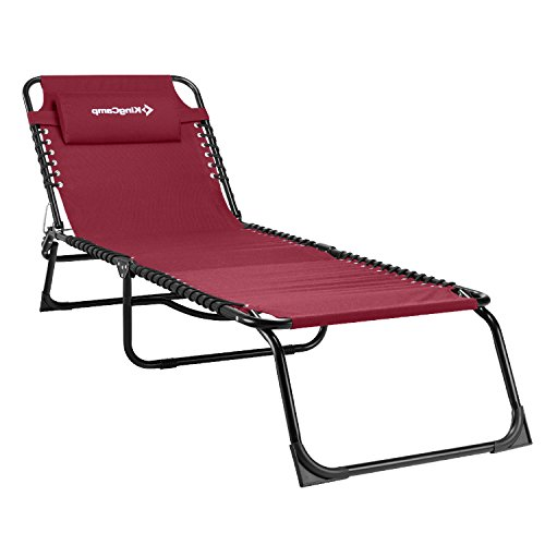Kingcamp 3 Reclining Positions Patio Lounge Chair - Portable Folding Chaise Bed for Outdoor Indoor Furniture Home Garden Yard Pool Beach Camping Sleep SPA with Removable Pillow(Claret-red) (Portable Outdoor Furniture)