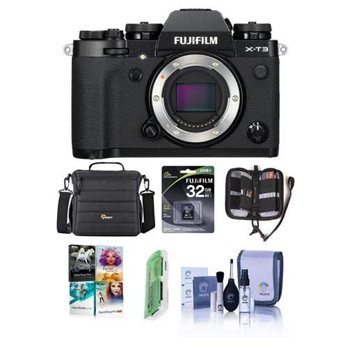 Fujifilm X-T3 Mirrorless Camera Body, Black - Bundle with 32GB SDHC U3 Card, Camera Case, Cleaning Kit, Memory Wallet, Card Reader, Pc Software Package