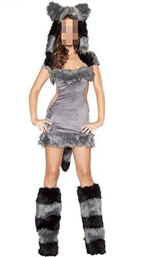Snlydtan Halloween Grey Fox Wolf Costume Skirts w/ Hat Tail Footwear (Sexy Wolf Woman Costume)