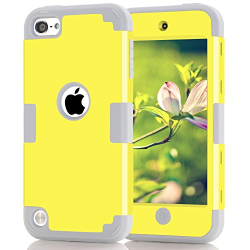 iPod 6th Generation Case, iPod Touch 6 Cases, iPod Touch 5 Case, Shockproof High Impact Phone Cover iPod Touch Cases, Yellow+Gray (Touch Ipod Yellow)