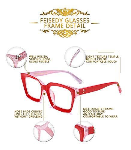 FEISEDY Classic Square Eyewear Non-prescription Thick Glasses Frame for Women B2461
