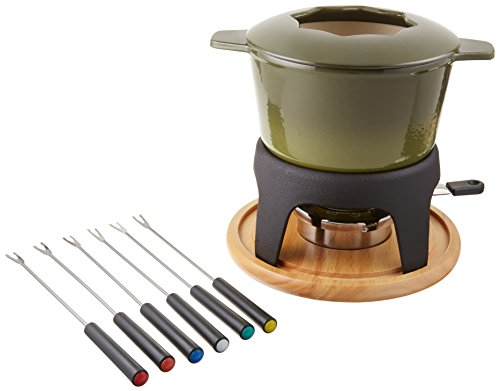 Swissmar F66709 Sierra Cast Iron Fondue Set, Deep Green